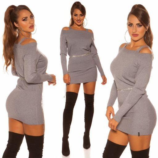 Vestido corto de punto color gris