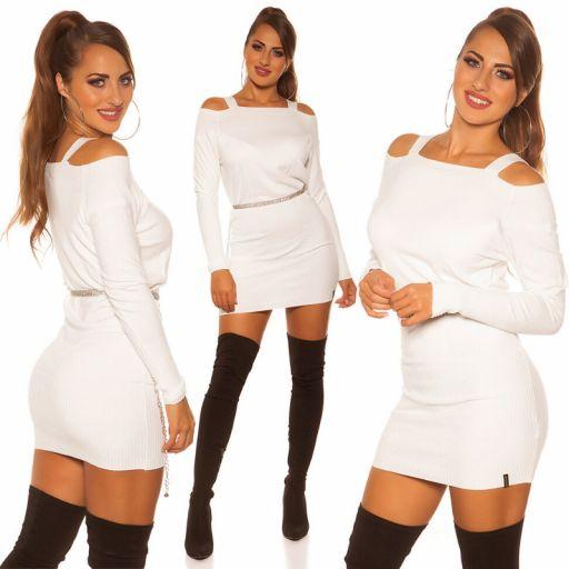 Vestido corto de punto color blanco
