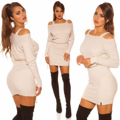 Vestido corto de punto color beige