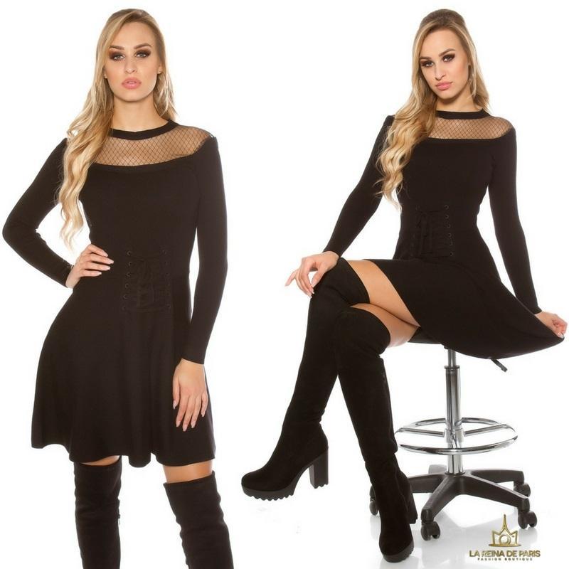 Vestido tejido tipo corsé negro