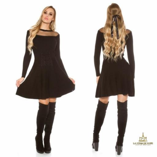 Vestido tejido tipo corsé negro [1]