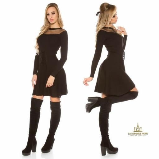 Vestido tejido tipo corsé negro [3]