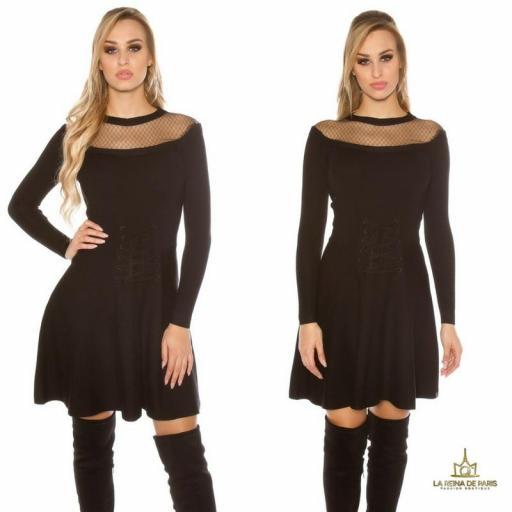 Vestido tejido tipo corsé negro [2]