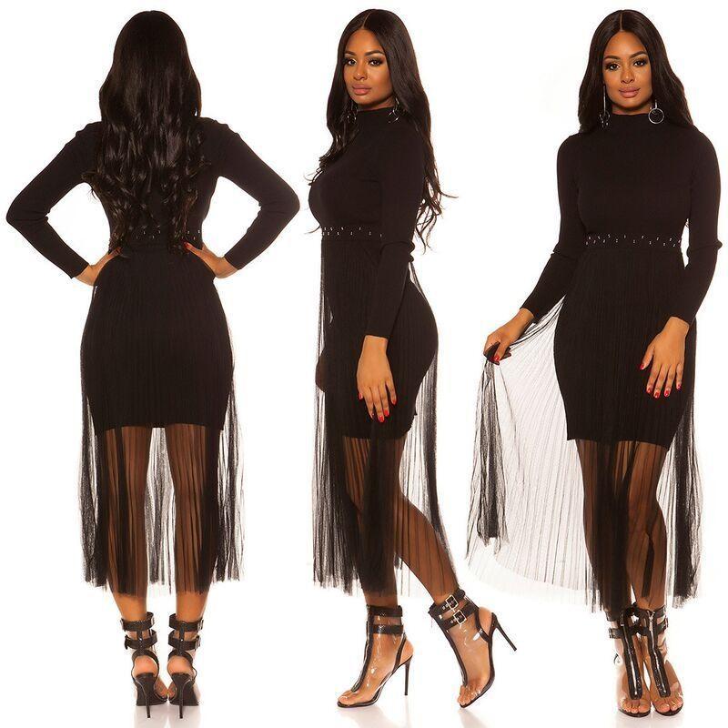 Vestido de punto con gasa negro