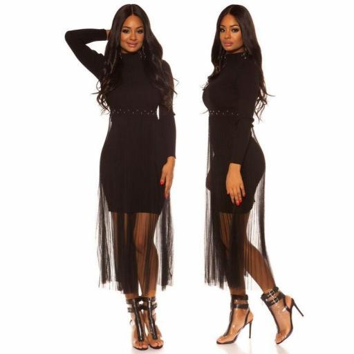Vestido de punto con gasa negro  [2]
