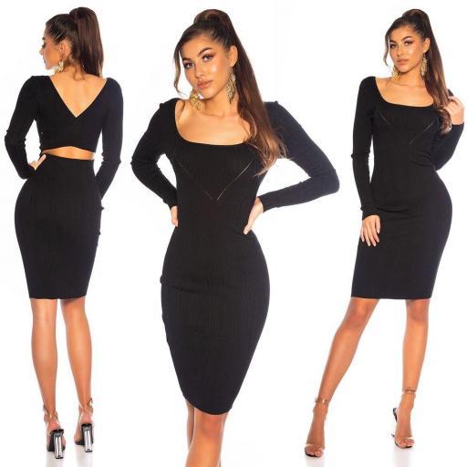 Vestido de punto elegante negro