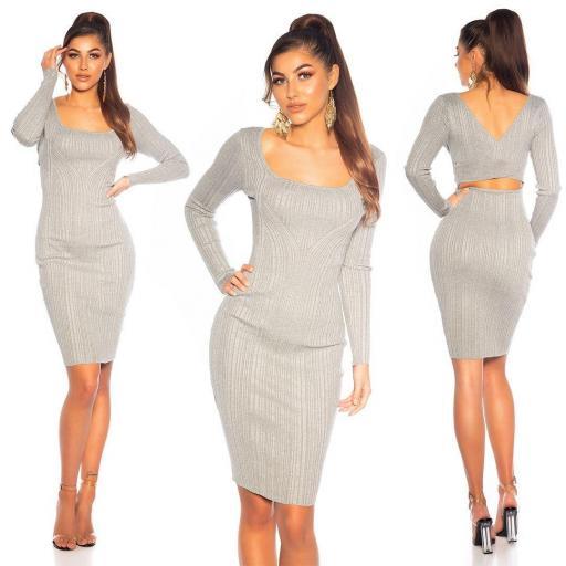 Vestido de punto elegante gris