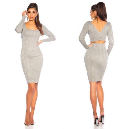 Vestido de punto elegante gris  [1]