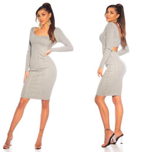 Vestido de punto elegante gris  [2]