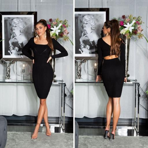 Vestido de punto elegante negro [3]