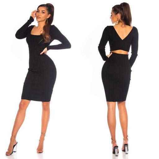 Vestido de punto elegante negro [1]