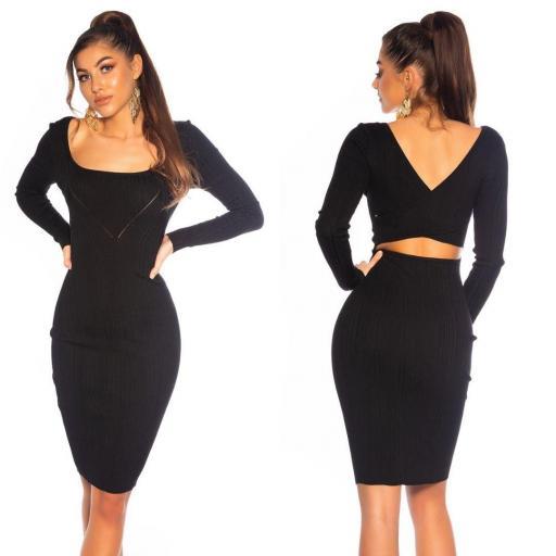 Vestido de punto elegante negro [2]
