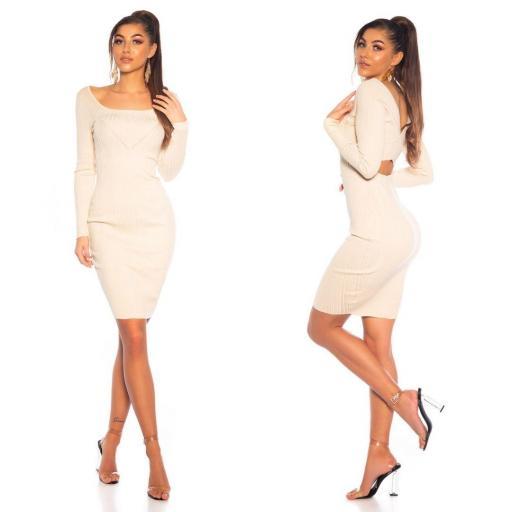 Vestido de punto elegante beige   [1]