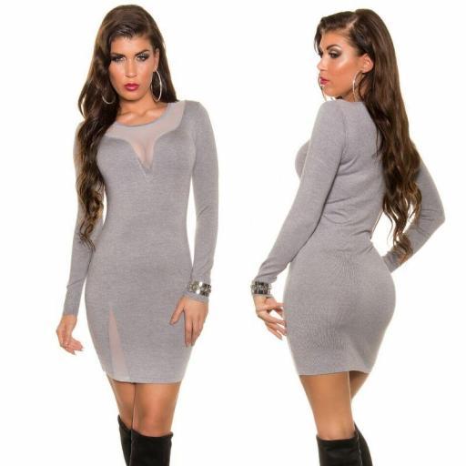 Vestido gris de punto escote sexy