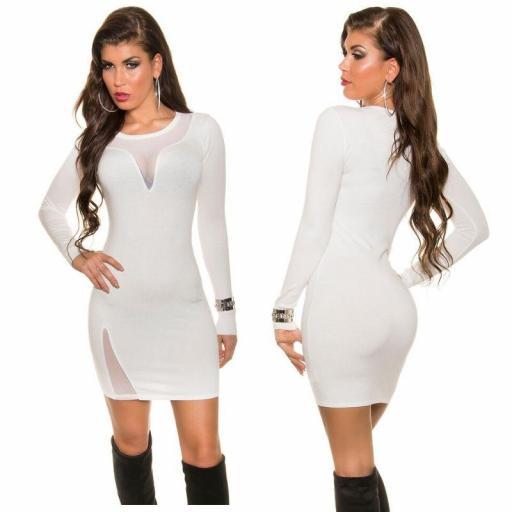 Vestido crema de punto escote sexy