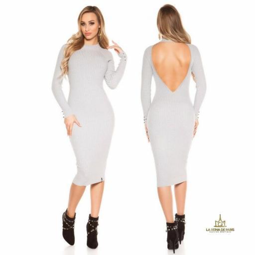 Vestido gris de punto espalda sensual [0]
