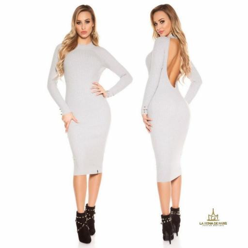 Vestido gris de punto espalda sensual [2]