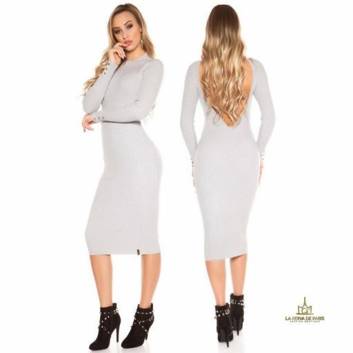 Vestido gris de punto espalda sensual [3]