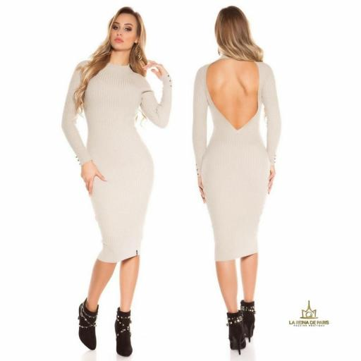 Vestido beige de punto espalda sensual [2]