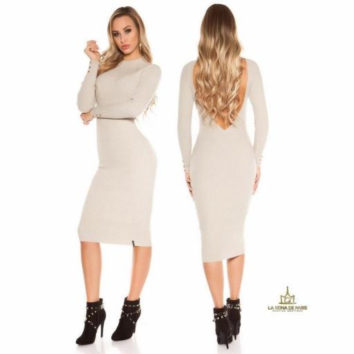 Vestido beige de punto espalda sensual [3]