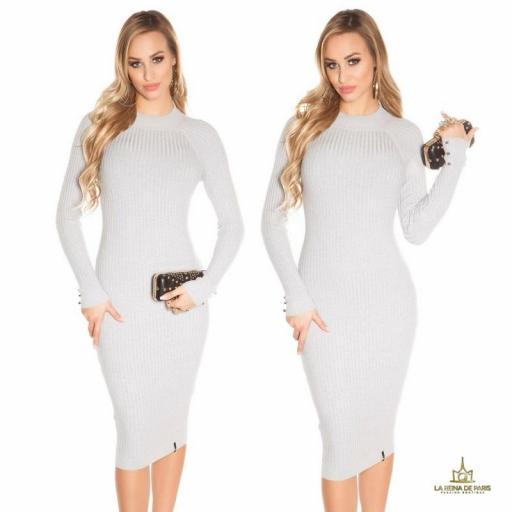 Vestido gris de punto espalda sensual [1]