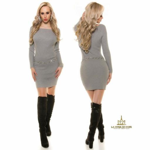 Vestido de punto gris moda casual  [2]