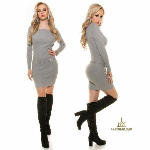 Vestido de punto gris moda casual  [1]