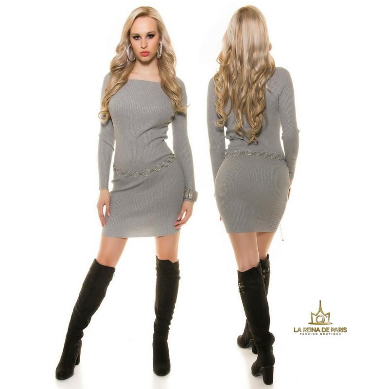 Vestido de punto gris moda casual