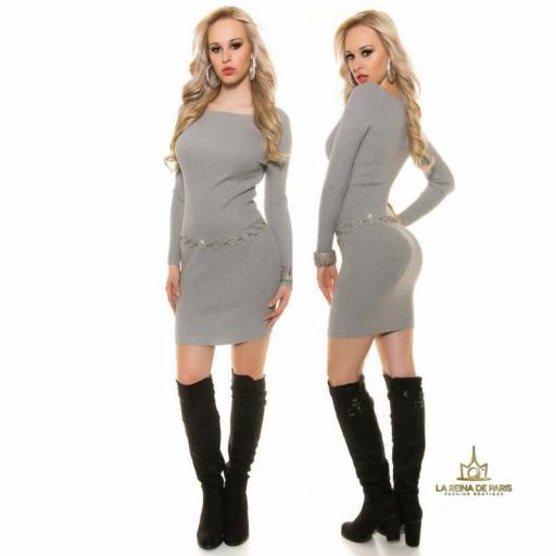 Vestido de punto gris moda casual  [3]