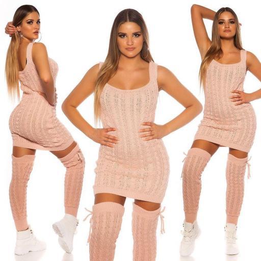 Vestido de punto manga corta rosa