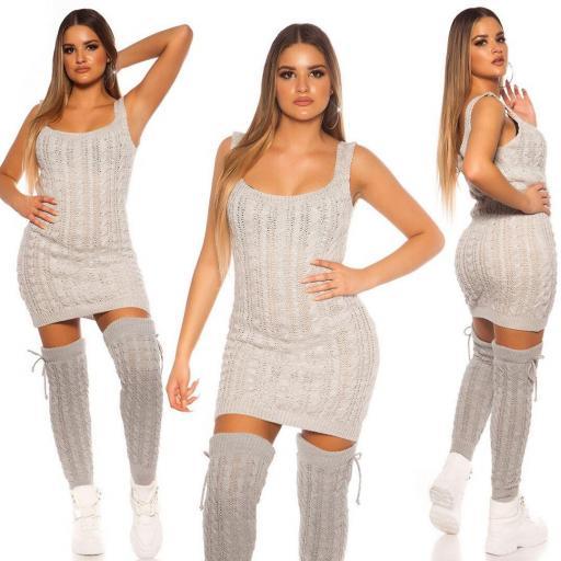 Vestido de punto manga corta gris