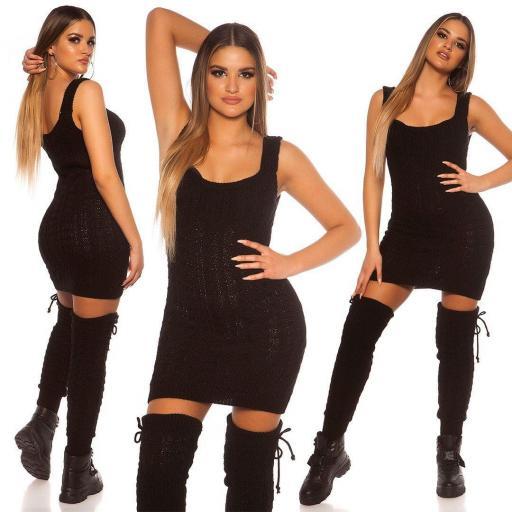 Vestido de punto manga corta negro