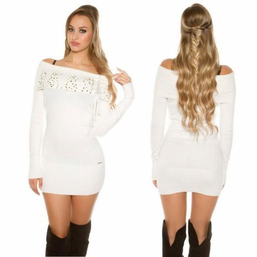Vestido de punto blanco tachonado