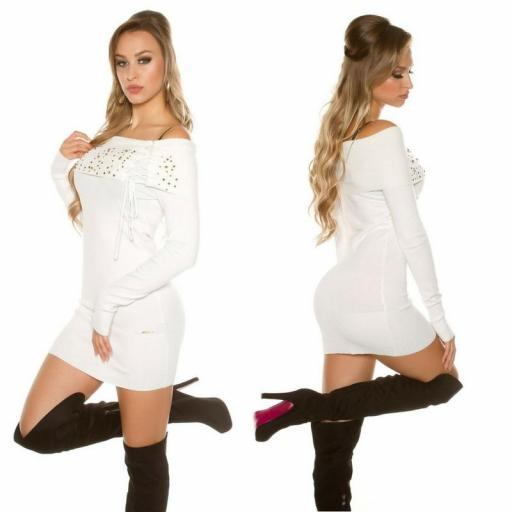 Vestido de punto blanco tachonado  [1]