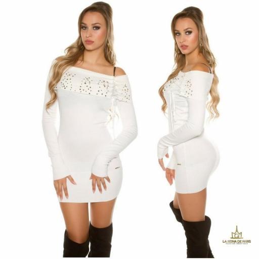 Vestido de punto blanco tachonado  [2]