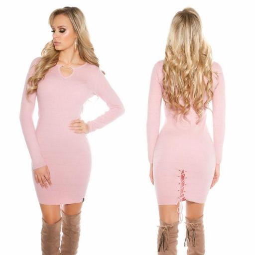 Vestido de punto rosa Bruni