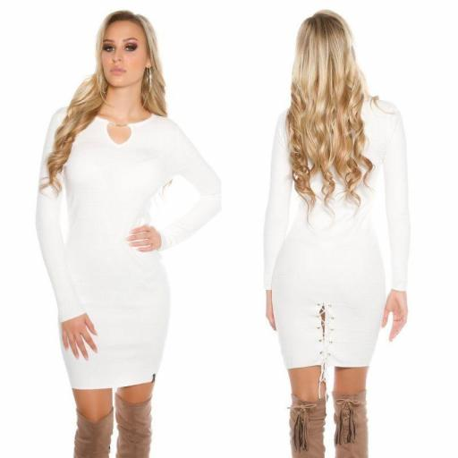 Vestido de punto blanco Bruni