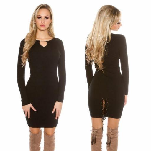 Vestido de punto negro Bruni