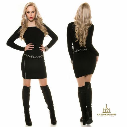 Vestido de punto negro moda casual