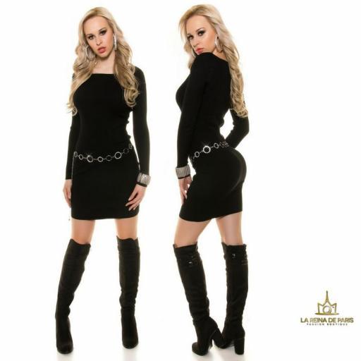 Vestido de punto negro moda casual  [1]