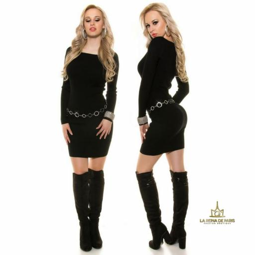 Vestido de punto negro moda casual  [3]