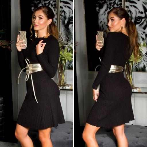 Vestido ajustado acanalado negro
