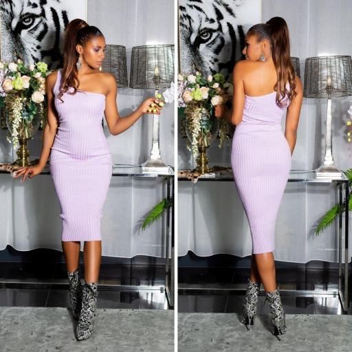 Vestido de un solo hombro lila