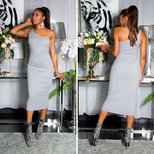 Vestido de un solo hombro gris