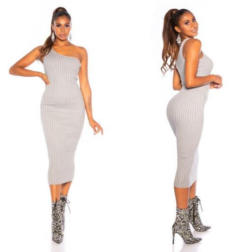 Vestido de un solo hombro gris [3]