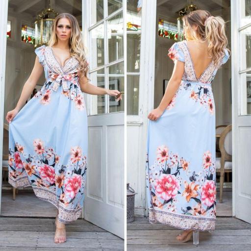 Vestido largo de flores azul de moda