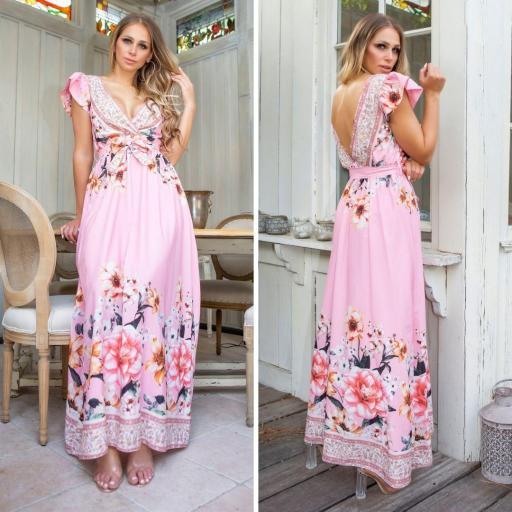 Vestido largo de flores rosa de moda