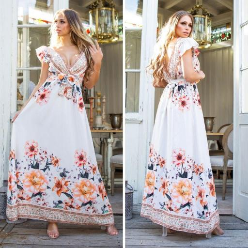 Vestido largo de flores crema de moda