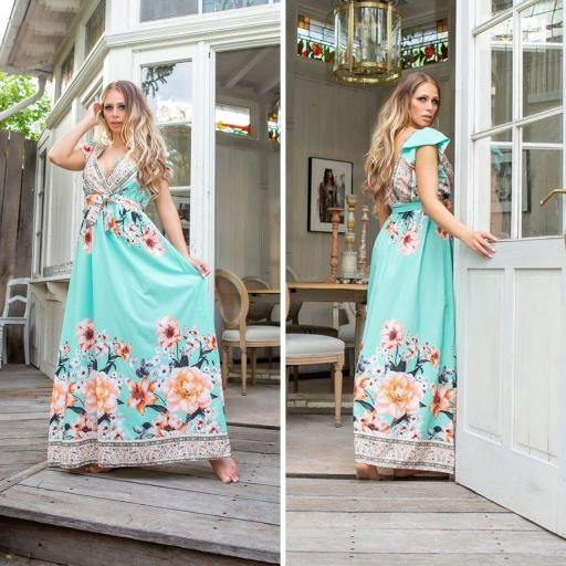 Vestido largo de flores menta de moda