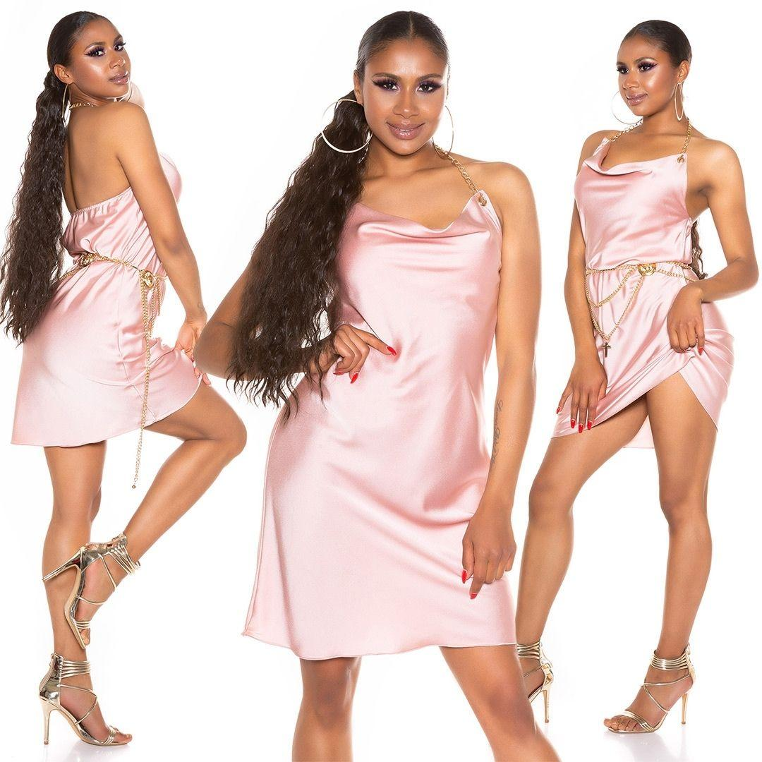Vestido seda de imitación rosa